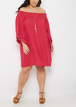 Plus Fuchsia Boho Off Shoulder Dress