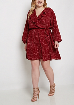Plus Dotted Ruffled Wrap Dress