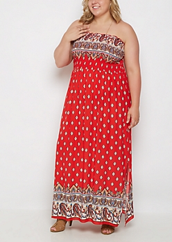 Plus Bohemian Off Shoulder Maxi Dress