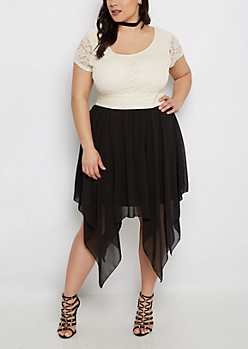 Plus Black Sharkbite Hem Lace Skater Dress