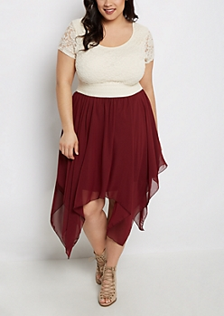 Plus Burgundy Sharkbite Hem Lace Skater Dress