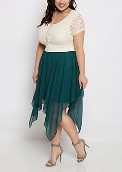 Plus Teal Sharkbite Hem Lace Skater Dress