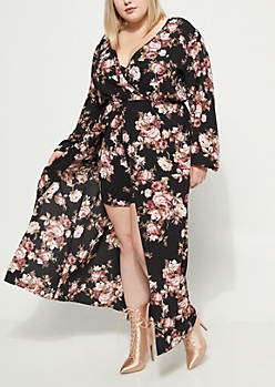 Plus Black Floral Surplice Maxi Romper