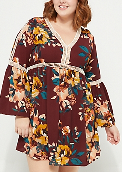 Plus Burgundy Floral Crochet Trim Crepe Dress