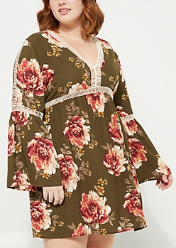 Plus Olive Floral Crochet Trim Crepe Dress
