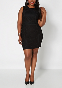 Plus Black Lucky Lace High Neck Dress