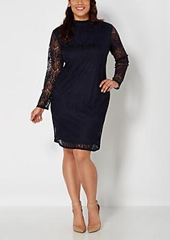 Plus Navy Lace Engagement Dress