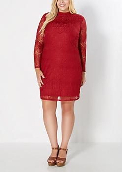 Plus Burgundy Lace Engagement Dress