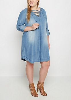 Plus Lace Up Shirt Dress by Clover + Scout®