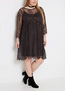 Plus Sheer Lace Mini Dress
