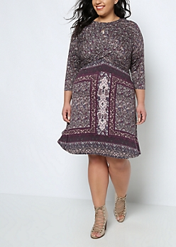 Plus Folklore Twisted Skater Dress By Clover + Scout