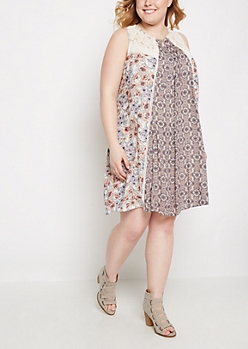 Plus Folklore Peony Shift Dress By Clover + Scout