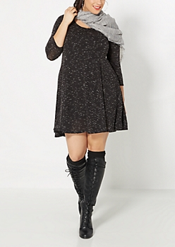 Plus Marled Knit Skater Dress