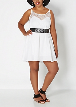 Plus White Lace Sweetheart Sundress