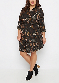 Plus Wildflower Challis Shirt Dress