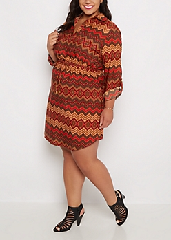 Plus Border Chevron Shirt Dress