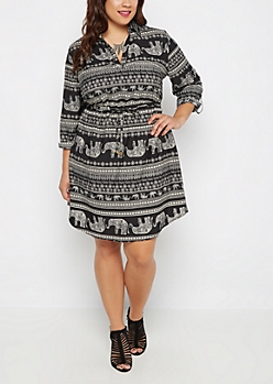 Plus Tribal Elephant Shirt Dress