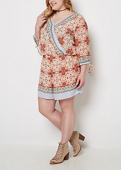 Plus Paisley Medallion Surplice Romper