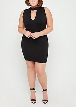 Plus Black V Neck Mini Dress