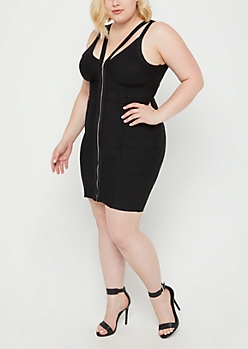 Plus Black Front Zip Bandage Mini Dress