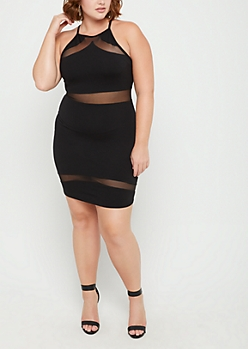 Plus Black Mesh Mini Dress