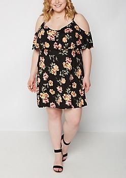 Plus Rose Ruffle Super Soft Off Shoulder Dress