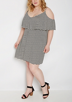 Plus Striped Ruffle Super Soft Off Shoulder Dress