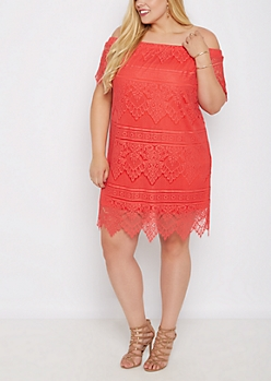 Plus Coral Vintage Lace Off-Shoulder Dress