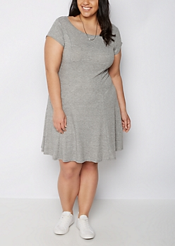 Plus Gray Ribbed Princess Cut Swing Dress