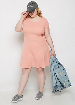 Plus Peach Ribbed Princess Cut Swing Dress