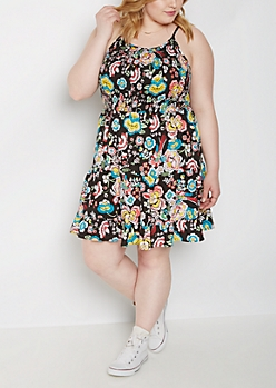 Plus Floral Smocked Ruffle Hem Dress