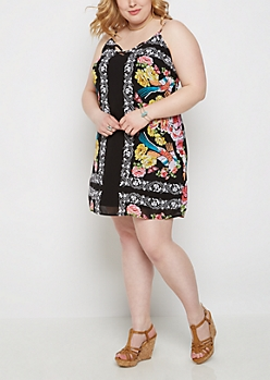 Plus Rose Border Print Caged Cami Dress