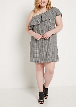 Plus Gingham Flounce One-Shoulder Dress
