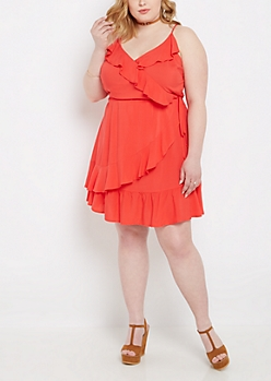 Plus Coral Ruffled Wrap Dress