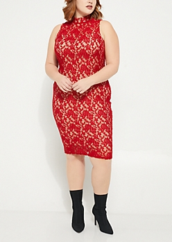 Plus Red Mock Neck Lace Midi Dress