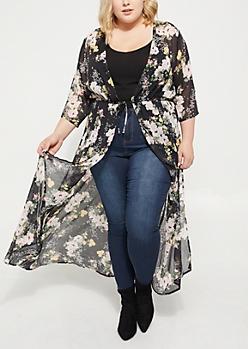 Plus Black Sheer Tie Front Floral Maxi Kimono