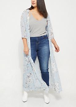 Plus Blue Sheer Tie Front Floral Maxi Kimono