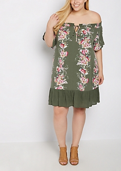 Plus Floral Off Shoulder Ruffled Dress