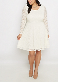 Plus Ivory Lace Long Sleeve Skater Dress