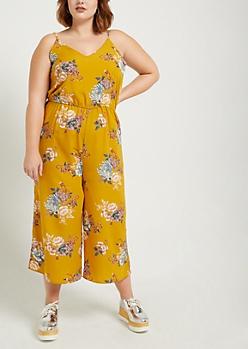 Plus Mustard Floral Cami Jumpsuit