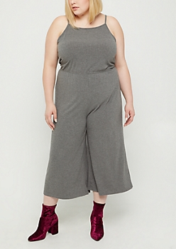 Plus Heather Gray Rib Knit High Neck Jumpsuit