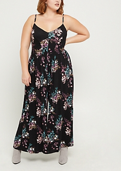 Plus Floral Wide Leg Jumpsuit