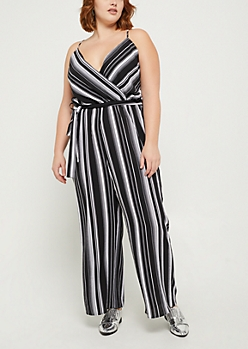 Plus Black Striped Surplice Jumpsuit