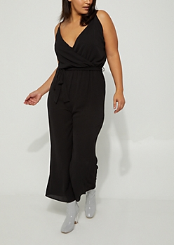 Plus Black Crepe Surplice Jumpsuit