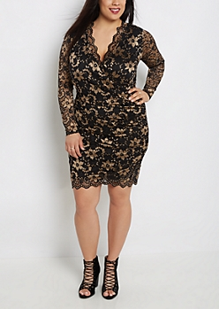 Plus Surplice Gold Lace Bodycon Dress