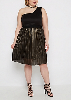 Plus One-Shoulder Golden Pleated Dress