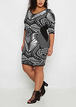 Plus Art Deco Jacquard Sweater Dress