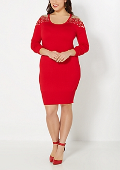 Plus Red Sparkling Shoulder Sweater Dress