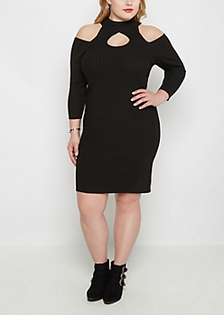 Plus Black Cold Shoulder Bodycon Dress