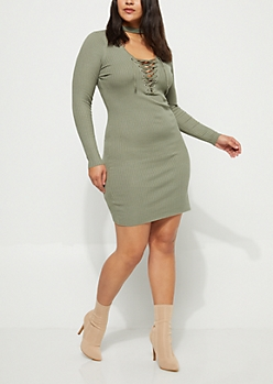 Plus Olive Lattice Bodycon Sweater Dress